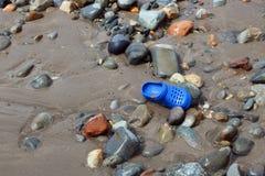 在海滩的柴尔兹岸 危险 免版税库存图片