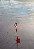 在海滩的柴尔兹锹 免版税库存照片
