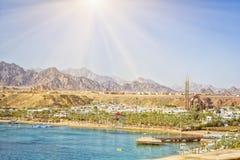 在海滩的2月天在Sharm El谢赫 库存照片
