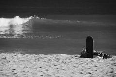 在海滩的滑板 免版税库存照片