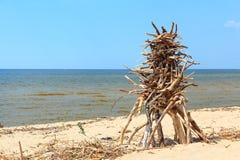 在海滩的结构 库存照片