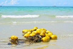 在海滩的黄色浮体 免版税库存照片
