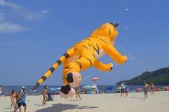 在海滩的黄色猫风筝娱乐 免版税库存图片