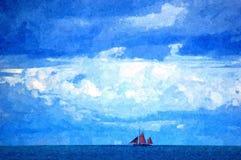 在海洋的Cloudscape 免版税库存照片