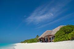 在海滩的SUNBEDS 免版税图库摄影