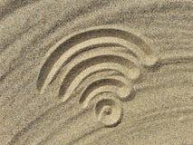 在海滩的Wi-Fi标志 库存照片