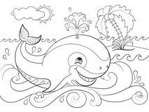 在海洋着色背景的蓝鲸儿童动画片传染媒介例证的 免版税库存图片