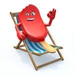 在海滩睡椅休息的冰棍动画片 库存照片