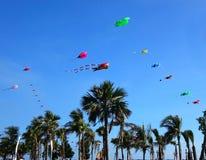 在海滩节日期间的五颜六色的风筝 免版税库存照片