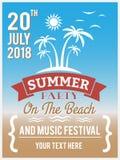 在海滩设计的夏天党海报的,飞行物 库存例证