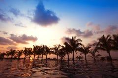 在海滩附近的游泳池由日落 免版税库存图片