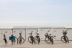 在海滩附近的自行车 库存图片