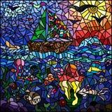 在海洋题材的彩色玻璃窗 船,天空,太阳,鸟, 免版税库存照片
