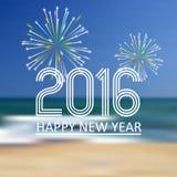在海滩颜色背景eps10的新年好2016年 免版税图库摄影