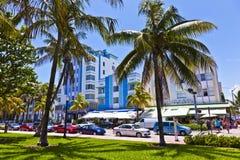 在海洋驱动的午间视图在迈阿密 免版税库存照片
