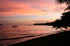 在海洋,古巴,旅行,热带气候的日落 免版税库存图片