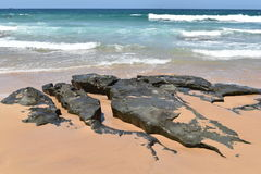 在海滩,太平洋,澳大利亚的岩石 库存照片