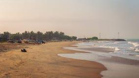 在海滩,斯里兰卡的日落 免版税库存图片