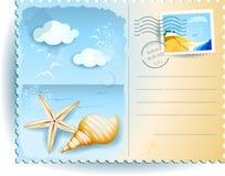 在海滩,明信片的假日 免版税图库摄影