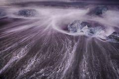 在海滩Jokulsarlon的冰 库存图片