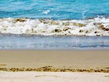 在海` s海岸的大波浪 库存图片