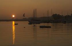 在海Gargano -普利亚的日落 免版税库存图片