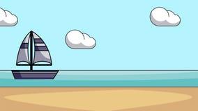 在海HD动画的风船 向量例证