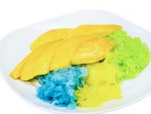 在浸洗由椰奶的甜成熟芒果的五颜六色的黏米饭 免版税库存照片