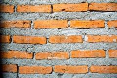 在涂灰泥的水泥前的未加工的砖墙 库存照片