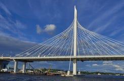在涅瓦河的索桥 库存照片