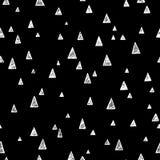 在消极黑白颜色的无缝的样式与三角的另外大小 皇族释放例证