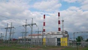 在涡轮能源厂上的定期流逝云彩导致电 股票视频