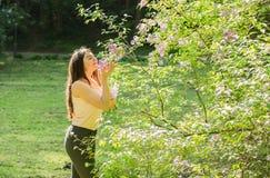 在淡紫色灌木附近的美丽的女孩 库存照片