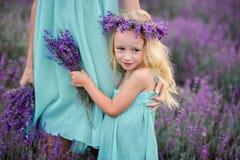 在淡紫色的领域的愉快的家庭 库存图片