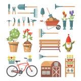 在淡色的春天从事园艺的传染媒介平的例证与逗人喜爱的园艺工具和庭院地精 免版税库存图片