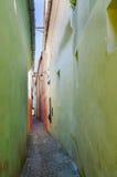 在淡色的狭窄的美丽如画的胡同,串街道(斯特拉达Sforii),之一最狭窄-1 32米宽和83米长 免版税库存照片