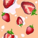 在淡色背景的无缝的草莓样式 库存图片