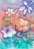 在淡色-原始的绘画的抽象花 免版税库存照片