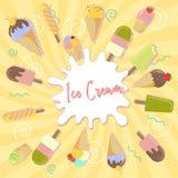 在淡黄色背景的被分类的与地方的冰淇凌和飞溅文本的 免版税库存图片