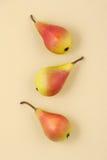 在淡黄色淡色背景的三个成熟水多的梨 免版税图库摄影