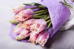 在淡紫色纸包裹的淡紫色郁金香花束  与五颜六色的郁金香的静物画 新鲜的春天郁金香 安置文本 花conce 图库摄影