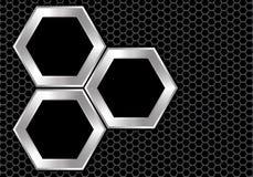 在深灰滤网设计现代豪华未来派背景纹理传染媒介的抽象银色黑六角形交叠 库存例证