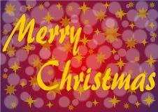在深红的圣诞快乐与金黄星 免版税库存照片