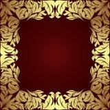 在深红的豪华金黄花卉框架 免版税库存照片