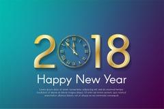 在深蓝和紫罗兰色背景的金黄新年2018年概念 库存图片