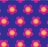 在深蓝背景无缝的传染媒介样式的狂放的玫瑰色花圆点 免版税库存照片