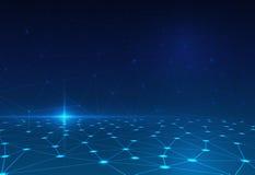 在深蓝背景的抽象分子 未来派技术概念的网络 库存照片