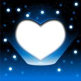 在深蓝背景的抽象心脏 向量例证