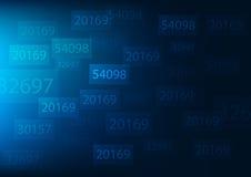 在深蓝背景的抽象数字式数字 免版税库存图片