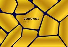 在深蓝背景的抽象金子voronoi图 几何马赛克背景和墙纸 皇族释放例证